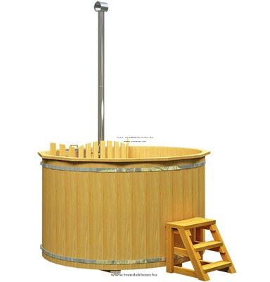 Fa lucfenyő dézsa beépített rozsdamentes kályhával 1,6 méteres 3-4 ++