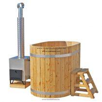 Ovális dézsa thermowood külső rozsdamentes acél kályhával 1,3x0,85++