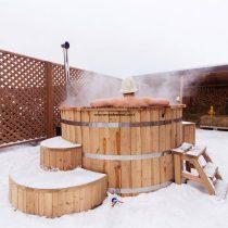 Észt thermowood fürdődézsa 160 cm külső rozsdamentes kályha 28kw++