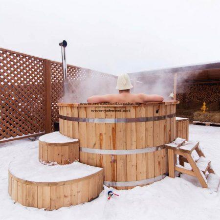 Észt thermowood fürdő dézsa 240 cm külső rozsdamentes kályha 28kw++